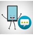 smartphone cartoon with bubble speech vector image