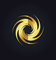 spin abstract swirl gear gold logo vector image vector image