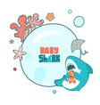template childrens round frame cute sea vector image vector image