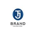 tj letter logo circle vector image vector image