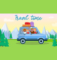travel time horizontal banner happy family kids vector image vector image