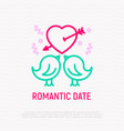 two birds in love thin line icon vector image vector image