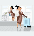 two cleaners in the room vector image