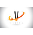 v letter logo with fire flames design and orange vector image vector image