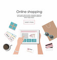 woman shopping in the online store on the tablet vector image