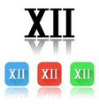 xii roman numeral icons colored set with vector image vector image