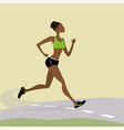 young pretty african american woman running vector image vector image