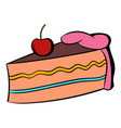 piece of cake icon cartoon vector image