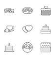 9 bakery icons vector image vector image