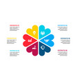 abstract flat elements cycle diagram with 6 vector image vector image