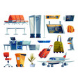 airport icons set plane and luggage check board vector image vector image