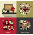 Auction Concept Icons Set vector image vector image