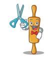 barber rolling pin character cartoon vector image vector image