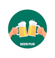 beer pub icon design two hands holding vector image vector image