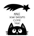 black cat looking up to star comet make your vector image