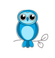 blue owl line logo on white background vector image vector image