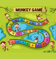 boardgame template with monkeys in jungle vector image vector image