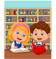 Boy and girl study together vector image vector image