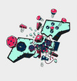 broken joystick gamepad parts video game poster vector image vector image