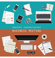 Business meeting Working place in flat design vector image vector image