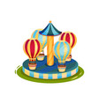 carousel with air balloons merry-go-round for vector image vector image