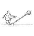 cartoon soccer player man shooting ball on pitch vector image vector image