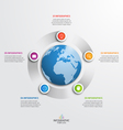 circle infographic template with globe 5 options vector image vector image