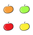 colorful apple icon set isolated on white vector image vector image