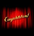 congratulations inscription hand vector image vector image