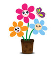 cute cartoon flowers on a flower pot vector image vector image
