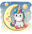 cute unicorn in a pilot hat is sitting on the moon vector image