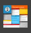cv resume template dashboard vector image vector image