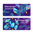 data center protect banner templates set vector image