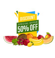 discount sale poster with fresh fruit vector image vector image