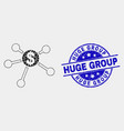 dotted dollar links icon and grunge huge vector image vector image