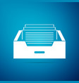 drawer with documents icon on blue background vector image vector image