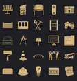 excavations icons set simple style vector image vector image