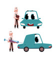 flat doctor mechanic car with eyes vector image vector image