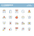 flat line filled icons design-e-commerce vector image vector image