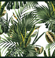 floral fashion tropic wallpaper with palm leaves vector image vector image