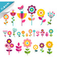 flower symbol flowers icons cute flat plants vector image vector image