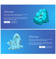 gemstones turquoise and rhinestone blue minerals vector image