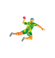 Handball Player Jumping Throwing Ball Low Polygon vector image