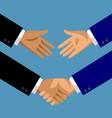 handshake in flat style vector image vector image