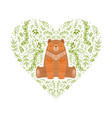 heart shape made green leaves and brown bear vector image