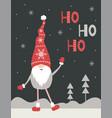 ho-ho-ho christmas greeting card cute nordic vector image vector image