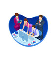 isometric business teamwork and digital marketing vector image vector image
