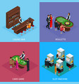 isometric people in casino square concept vector image vector image