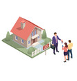 isometric real estate agent with house model vector image