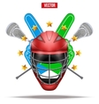 Lacrosse sticks and helmet Label vector image